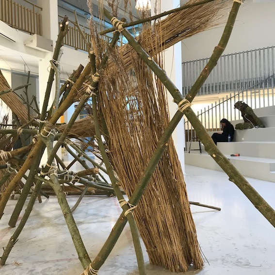 Wooden structure in an art gallery
