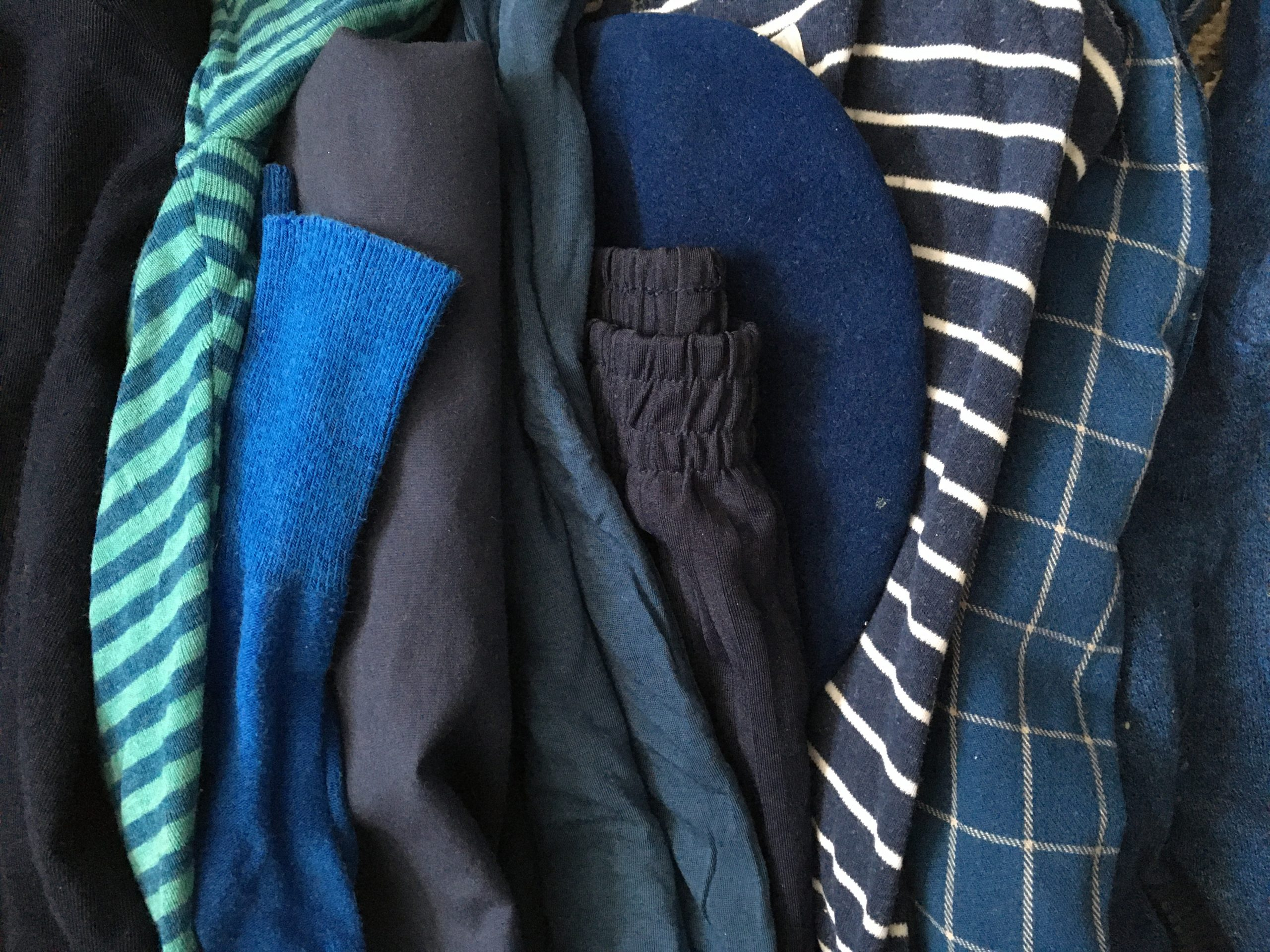 A pile of blue clothes