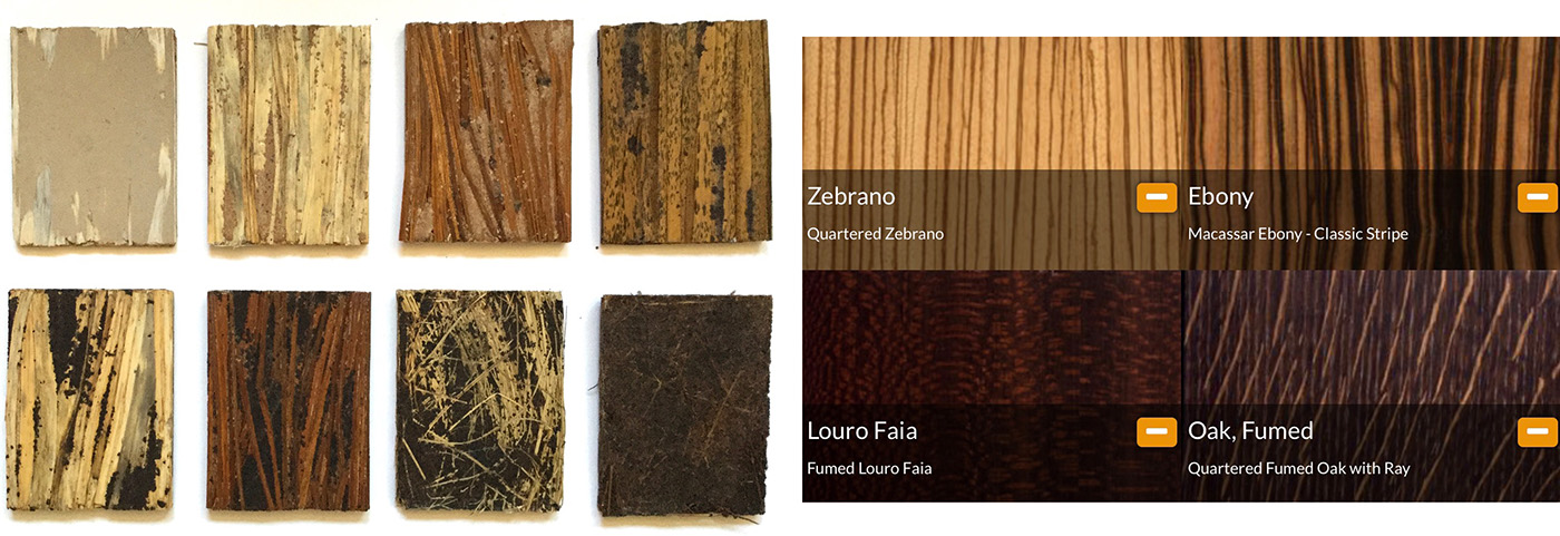 samples made from natural materials / samples of precious woods