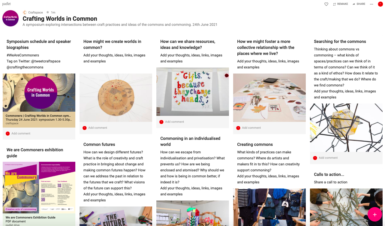 screenshot of the Crafting Worlds in Common padlet, with text prompts and images of exhibitors' work